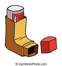 Drug inhaler for asthma icon vector illustration