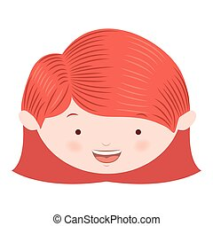 front face red hair girl vector illustration