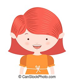 half body redhair girl with yellow dress vector illustration