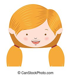 front face blond pigtails hair girl