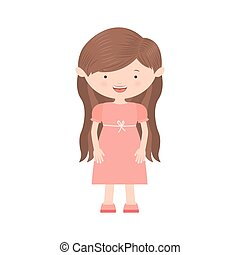 long hair girl with rose dress