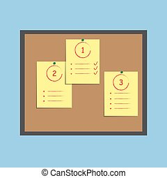 Bulletin board with paper notes and sticky. Flat design.