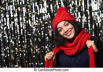 Closeup portrait of happy winter woman - Christmas girl,...