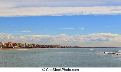 Clouds over the coast. Ostia, Rome, Italy. Time Lapse