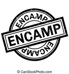 Encamp rubber stamp. Grunge design with dust scratches....