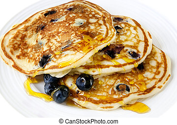 Blueberry Pancakes - Buttermilk blueberry pancakes with...