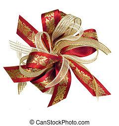Christmas Holly Ribbon - Red and gold Christmas ribbon bow,...