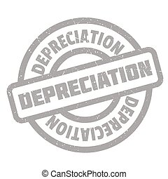 Depreciation rubber stamp. Grunge design with dust...