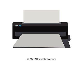 plano, estilo, impresora, Ilustración,  vector, diseño
