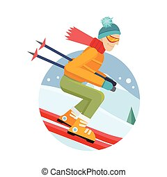 Skier on Slope Vector Illustration in Flat Design - Skier on...
