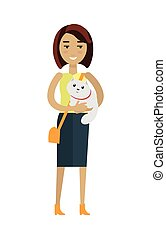 Woman with Cat Vector Illustration in Flat Design