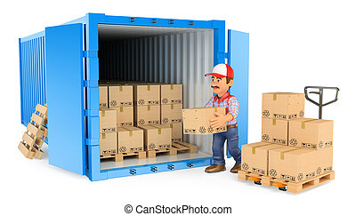 3D Worker loading or unloading a container - 3d working...