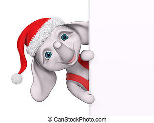 Christmas character cartoon elephant with poster 3d...