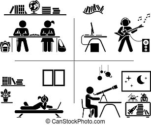 Pictogram icon set. Children spending time in their room. -...