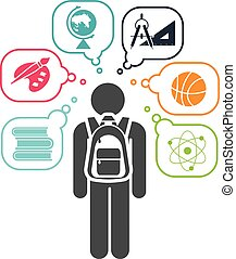 Back to school. - Pictogram of a child going learning...