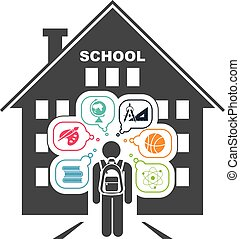 Back to school. School days. - Pictogram of a child going to...