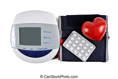 Digital blood pressure monitor with heart and pills isolated...