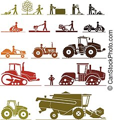 Agricultural mechanization icons. - Set of different types...