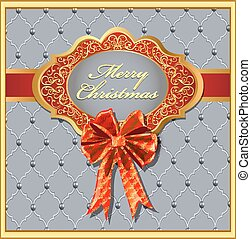 Postcard Christmas background with a bow and a gold ornament