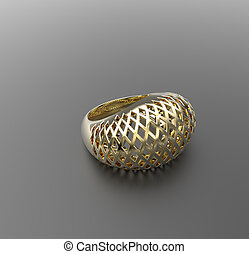 Ornamental gold ring. 3D illustration