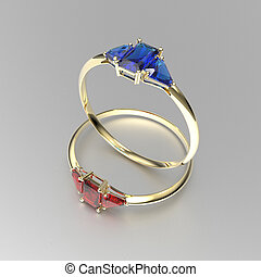 Wedding gold rings with diamonds. 3D illustration