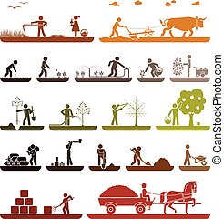 Set of pictogram icons presenting agricultural work and life on the farm. Organic production.