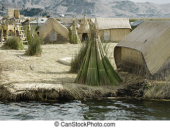 Houses on the Uros Floating Islands