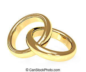 Wedding rings - Two 3d gold wedding rings. Objects over...