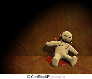 3D, voodoo, boneca