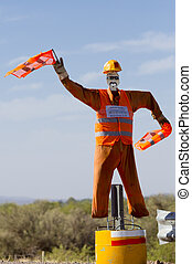 Dummy colorful traffic man in Argentina on ruta 40 - Fake...