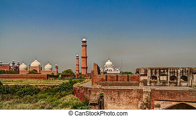 Lahore fort, Badshahi mosque and Samadhi of Ranjit Singh,...