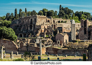 Archeological ruins in historic center in Rome, Italy -...