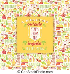 Healthy eating background with quote. Poster with...