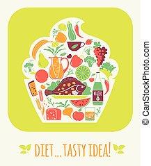 Vector illustration tasty diet.