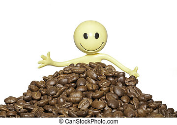 Close up of a happy coffee lover with organic coffee beans -...