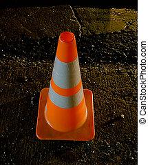 realistic striped traffic cone illustration