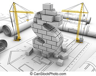 3d dollar sign - 3d illustration of cranes over drawings...