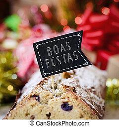 portugiesisch,  festas,  Text, Feiertage,  Boas, glücklich
