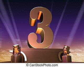 golden three - 3d rendered illustration of a golden number...