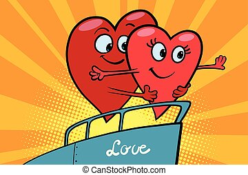 Love couple king of the world scene red hearts Valentines,...