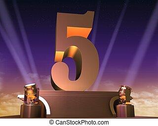 golden five - 3d rendered illustration of a golden number on...