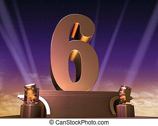 golden six - 3d rendered illustration of a golden number on...