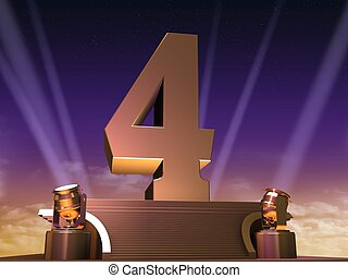 golden four - 3d rendered illustration of a golden number on...