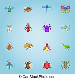 Insects icons set, cartoon style - Insects icons set....