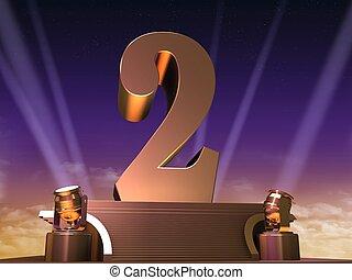 golden two - 3d rendered illustration of a golden number on...