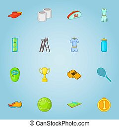Big tennis icons set, cartoon style - Big tennis icons set....