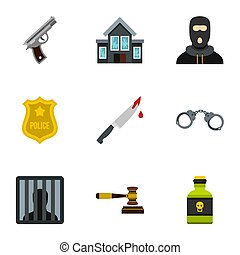 Lawlessness icons set, flat style - Lawlessness icons set....