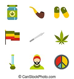 Drug icons set, flat style - Drug icons set. Flat...