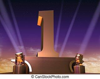 golden one - 3d rendered illustration of a golden number on...
