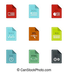 Kind of files icons set, flat style - Kind of files icons...